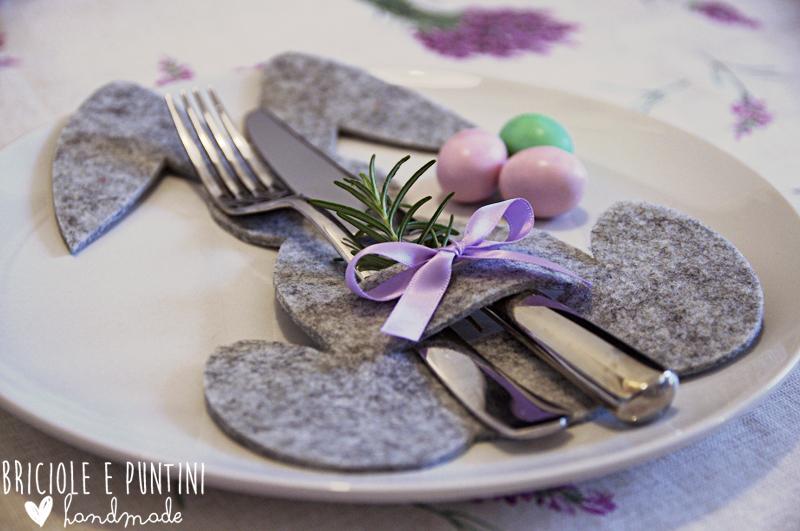 Coniglio porta posate per la tavola di pasqua briciole e - Lettere stampabili del coniglietto di pasqua ...